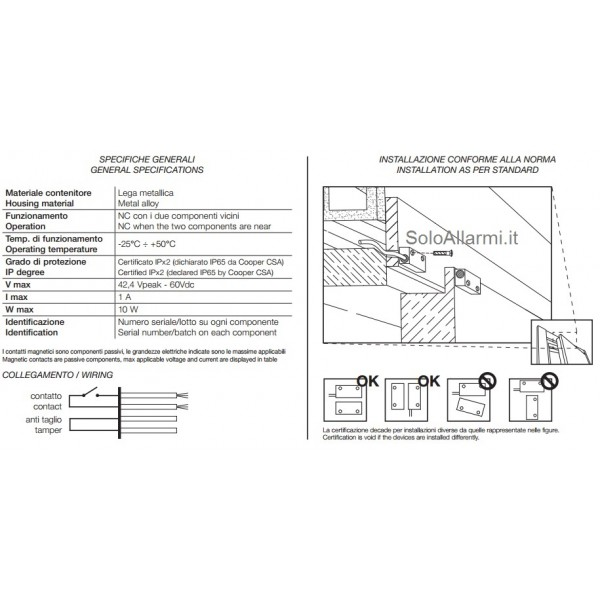Contatto magnetico in metallo 403ap - Contatti magnetici per finestre vasistas ...